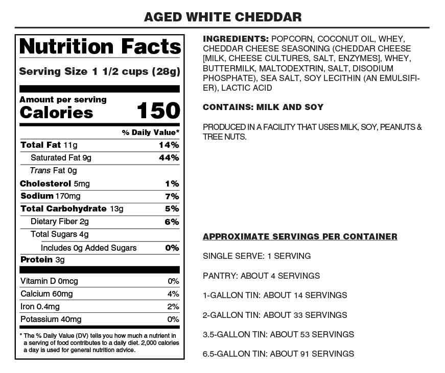 46e6fe26 ... Aged White Cheddar - Nutrition Facts - Gary Poppins Popcorn