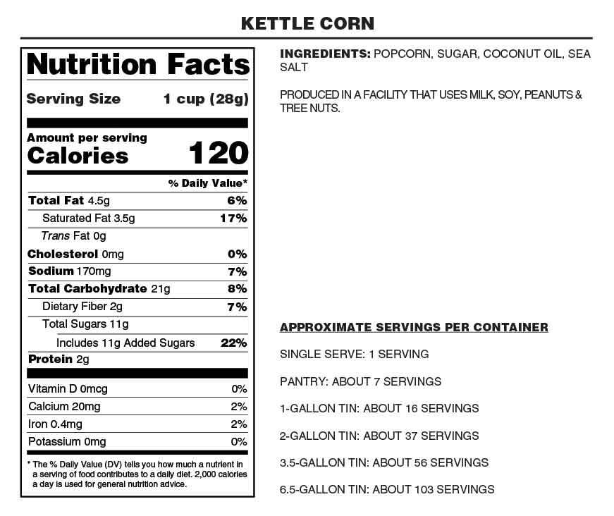 Old Fashioned Kettle Corn Nutrition Facts