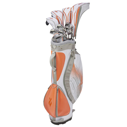 Nancy Lopez Ashley Stand Bag Package Set Orange/White (Right Hand)