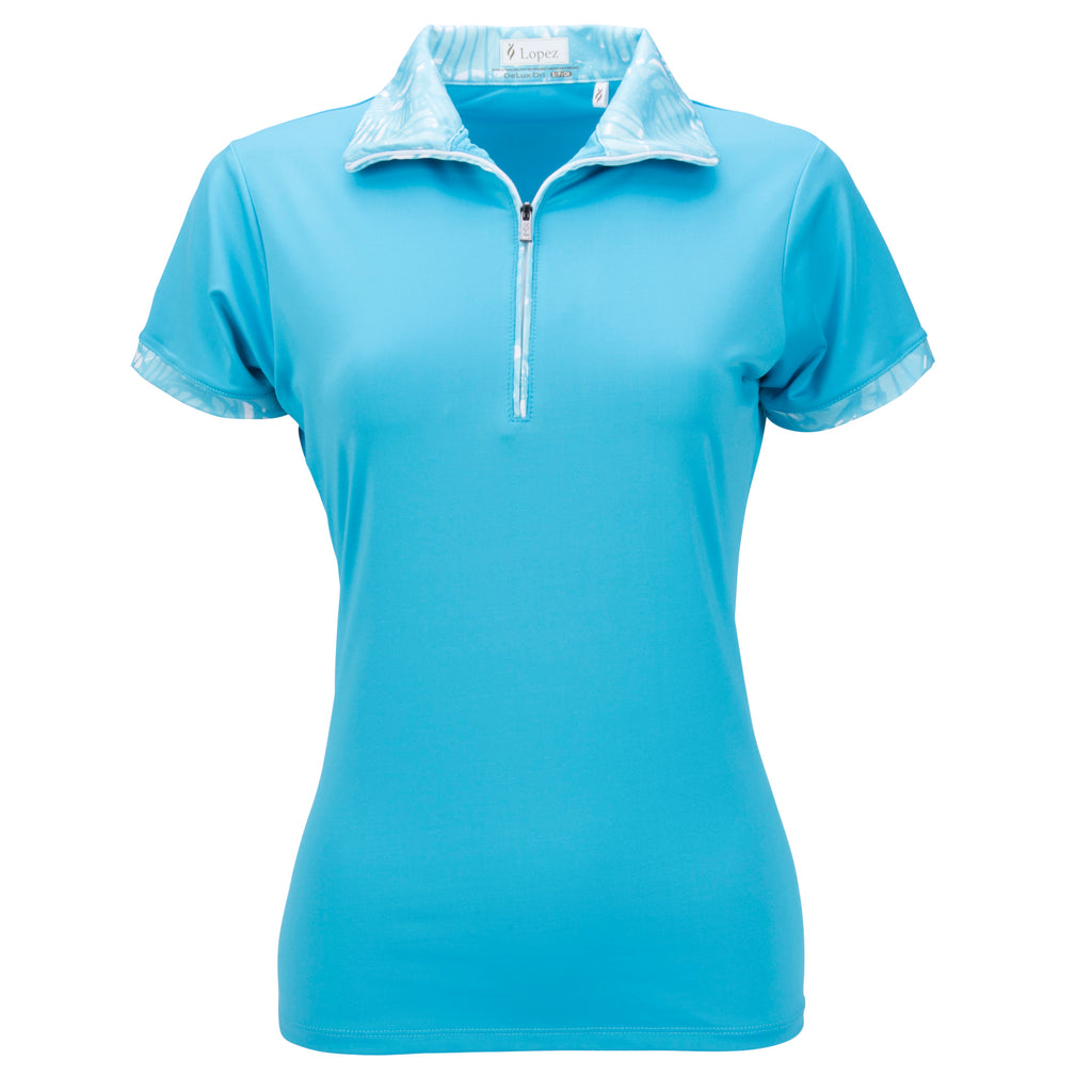 Nancy Lopez Fever Short Sleeve Polo Plus Peacock Multi