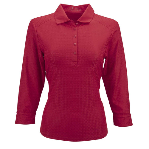Nancy Lopez Journey 3/4 Sleeve Polo Plus Cherry