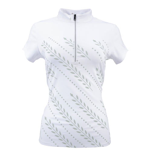 Nancy Lopez Golf Carefree Short Sleeve Polo Plus White/Silver