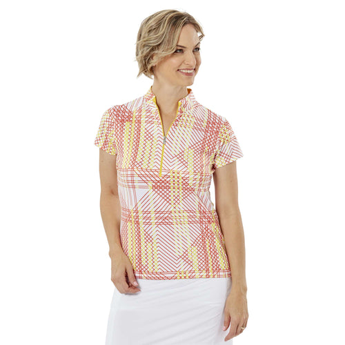 Nancy Lopez Glide Short Sleeve Polo Lemon/White Multi