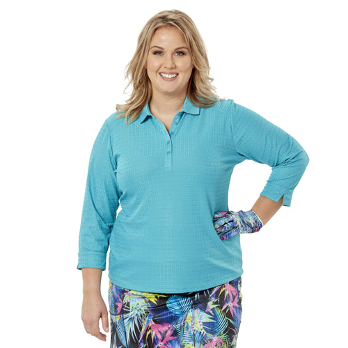 Nancy Lopez Journey 3/4 Sleeve Polo Plus Teal