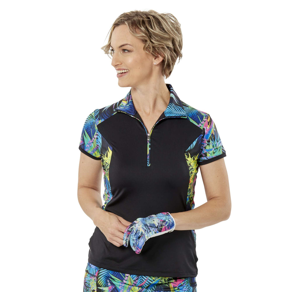 Nancy Lopez Paradise Short Sleeve Polo Black Multi