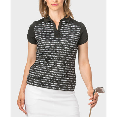 Nancy Lopez Race Short Sleeve Polo Black Multi