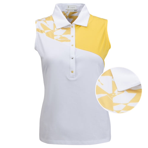 Nancy Lopez Splice Sleeveless Polo Plus White/Daffodil