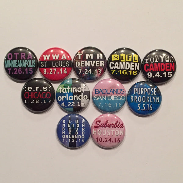 Tour Buttons - 1-Inch Pins - bymissrose