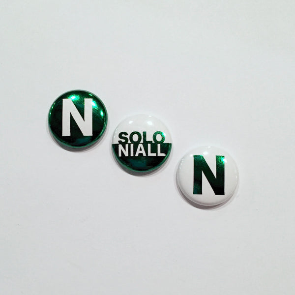 Metallic Niall Horan Solo Pins Set of 3 1-Inch Pinback Buttons in Green Foil Print