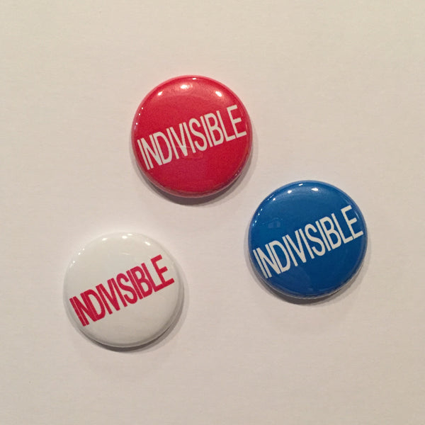Indivisible buttons in red white and blue. These are 1 inch buttons.