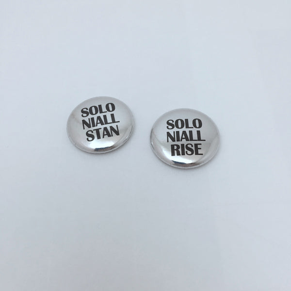 Solo Niall Horan Rise or Stan Metallic Buttons 1-Inch Pinback Pin Badge in Gold or Silver