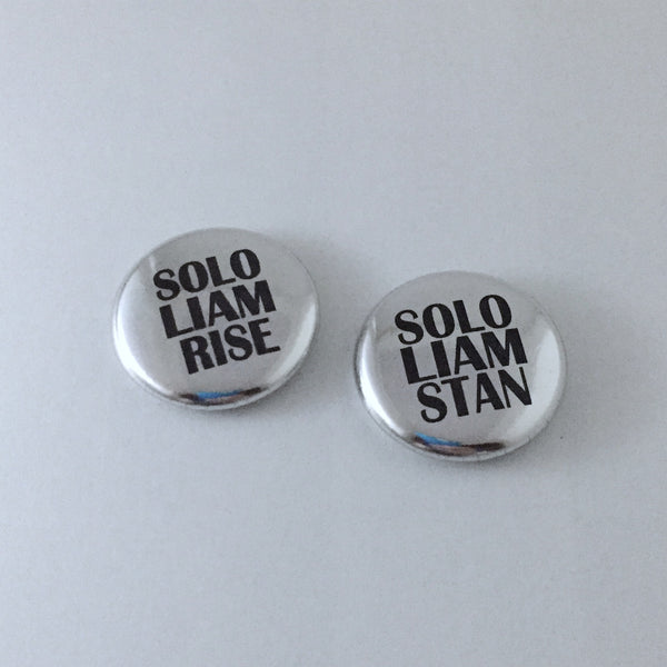 Solo Liam Payne Rise or Stan Metallic Buttons 1-Inch Pinback Pin Badge in Gold or Silver