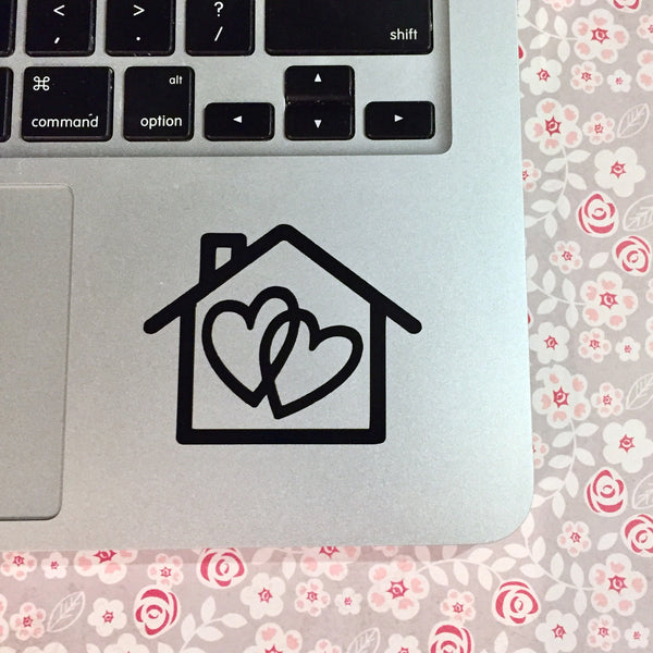 "harry styles vinyl decal house outline with two hearts inside of it represents lyrics ""two hearts one home"" from his song sweet creature available in small - 2.5 by 2 inches and large 3.75 by 3.5 inches"