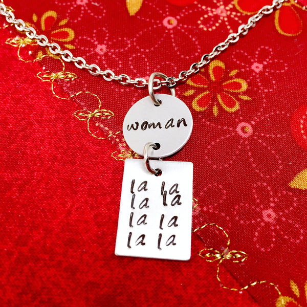 Harry Styles Woman Lyrics Hand-Stamped Charm Necklace