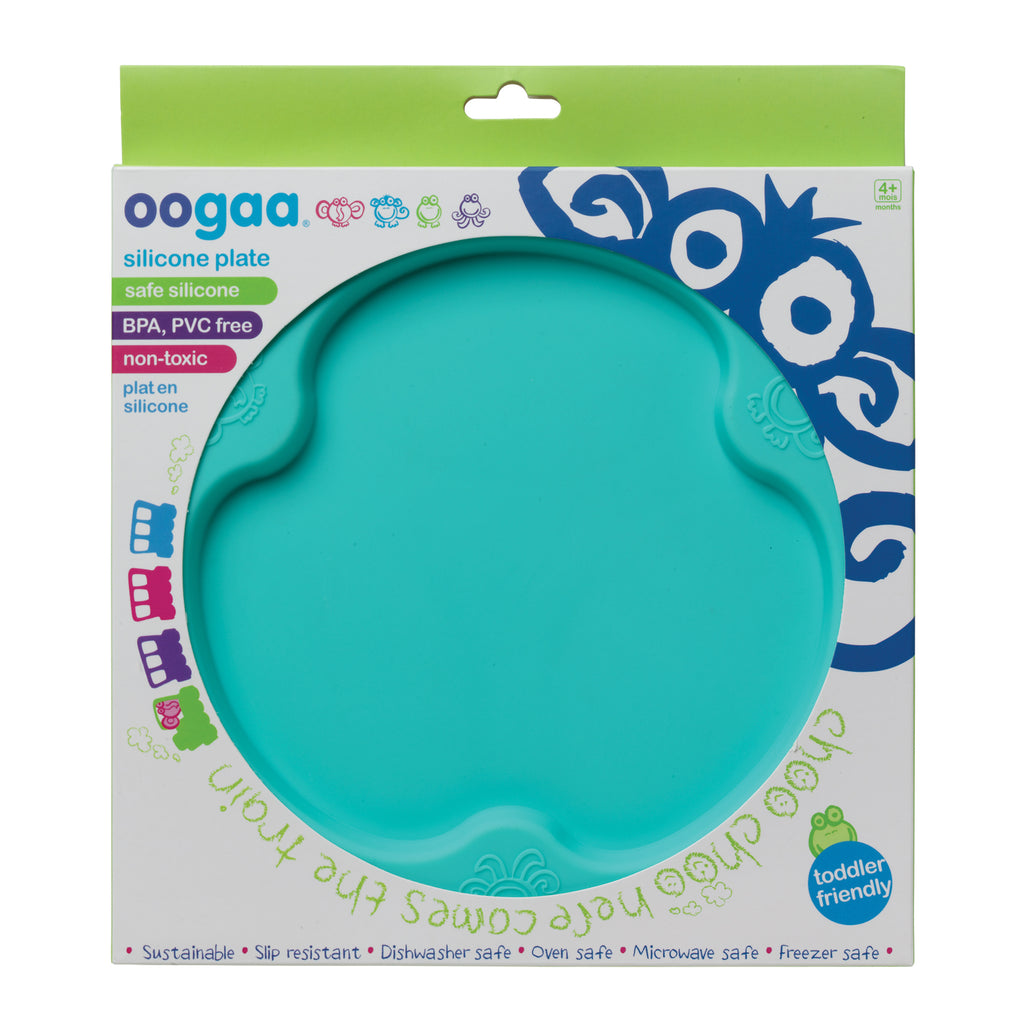 Oogaa jewel blue silicone weaning flat plate in packet flatlay view