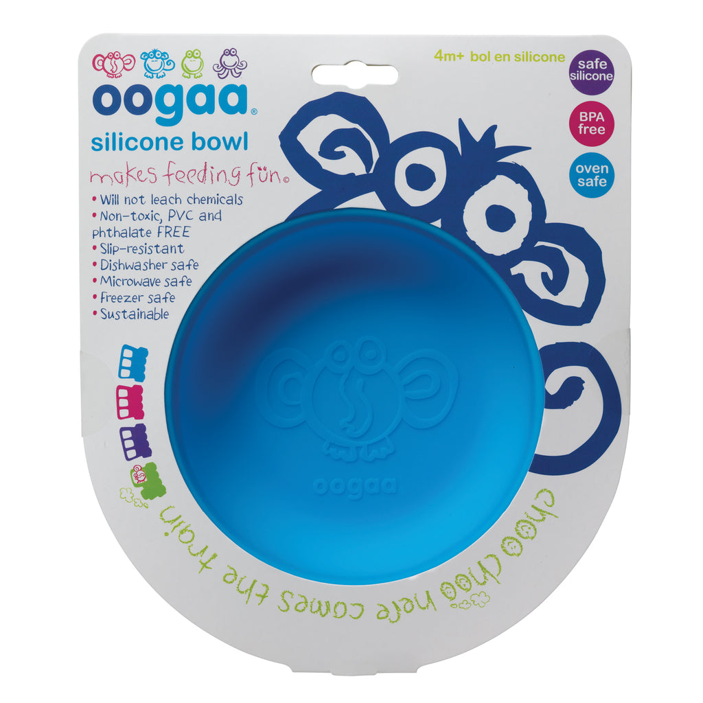 Oogaa blue weaning bowl in packet flatlay view