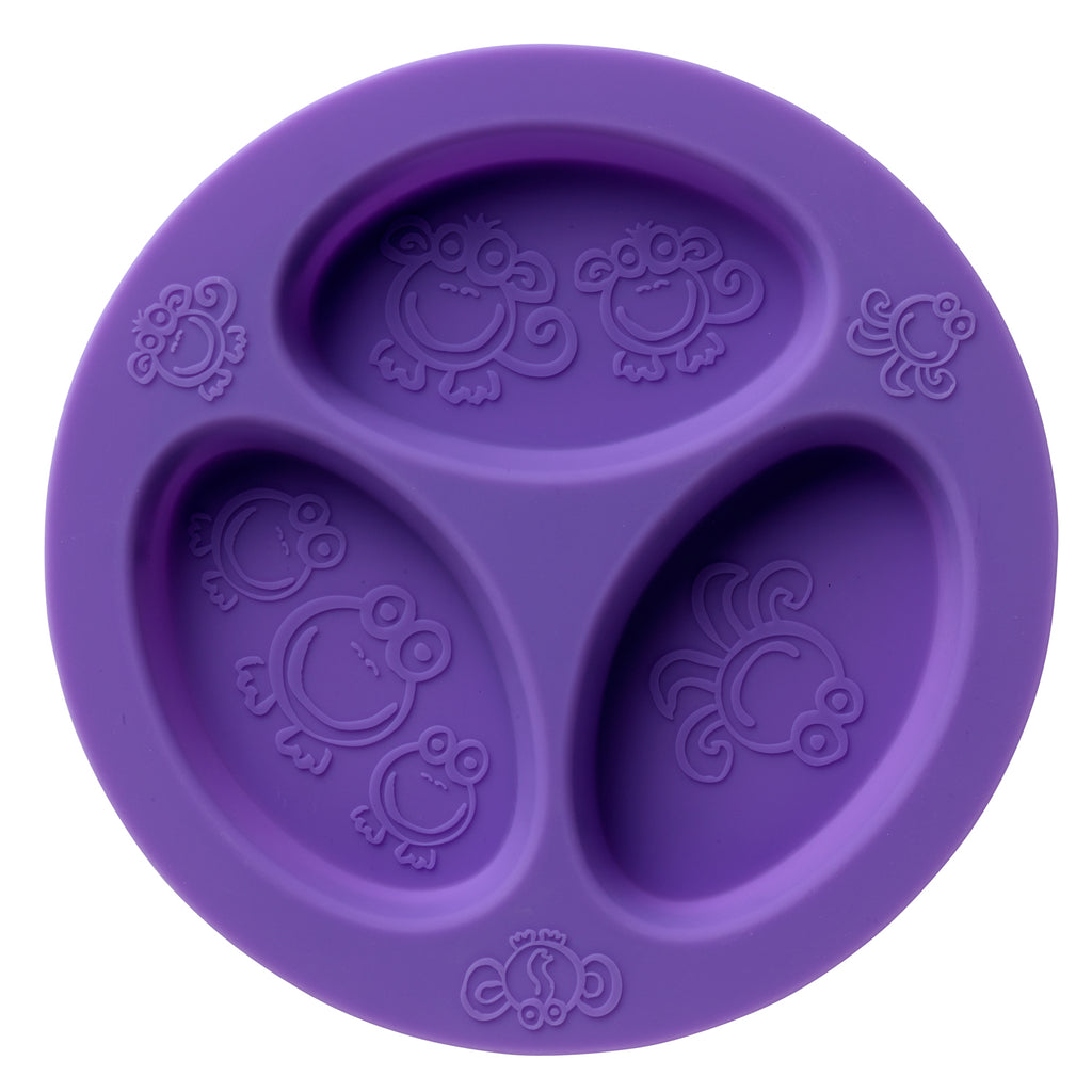Oogaa purple silicone weaning divider plate flatlay view