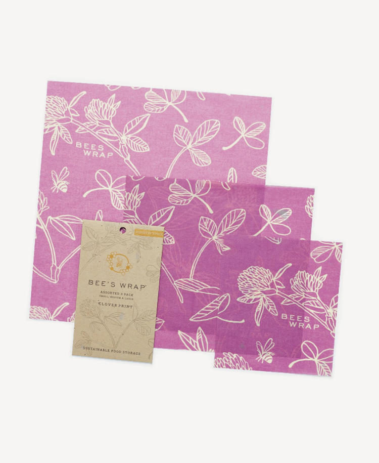 Bees Wrap assorted wraps in clover print front view and packet