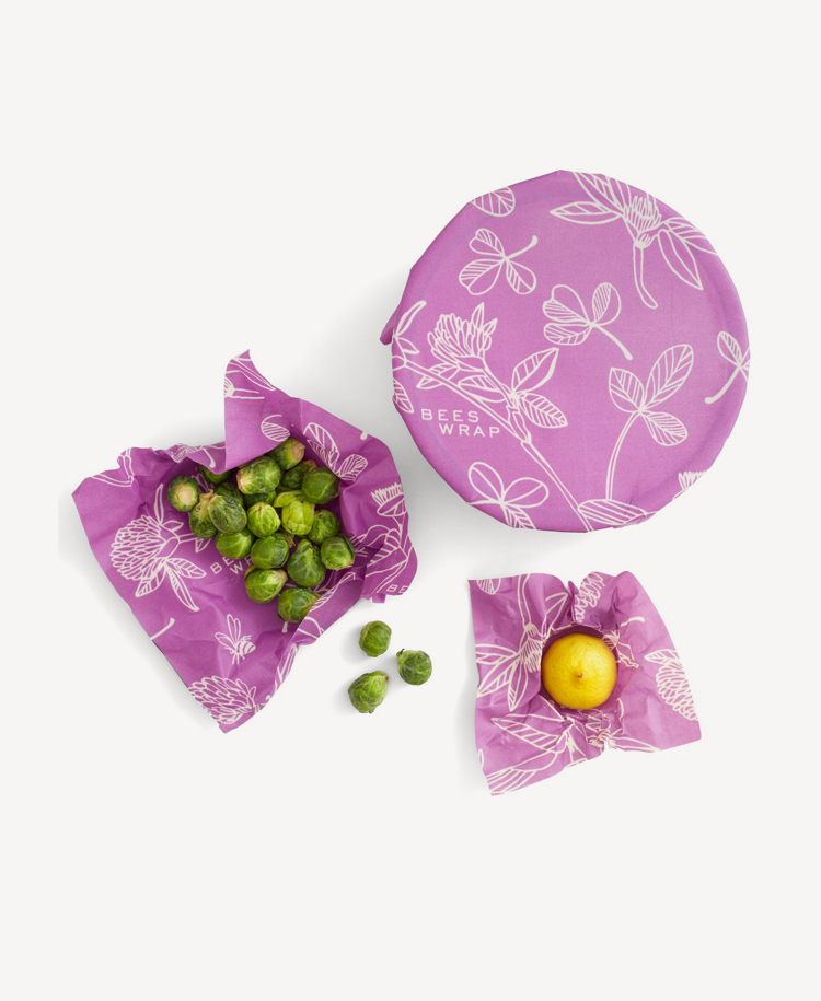 Bees Wrap assorted wraps in clover print wrapping food