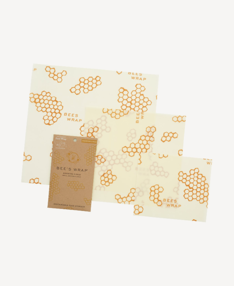 Bees Wrap assorted wraps in honeycomb print front view and packet