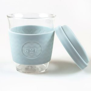 Sol glass Coffee Cup cool cyan front view with lid off