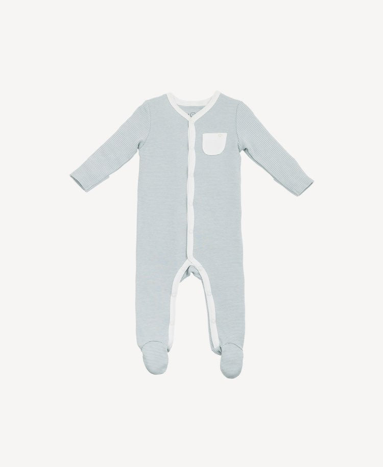 Baby Mori sleepsuit blue stripe flat lay view