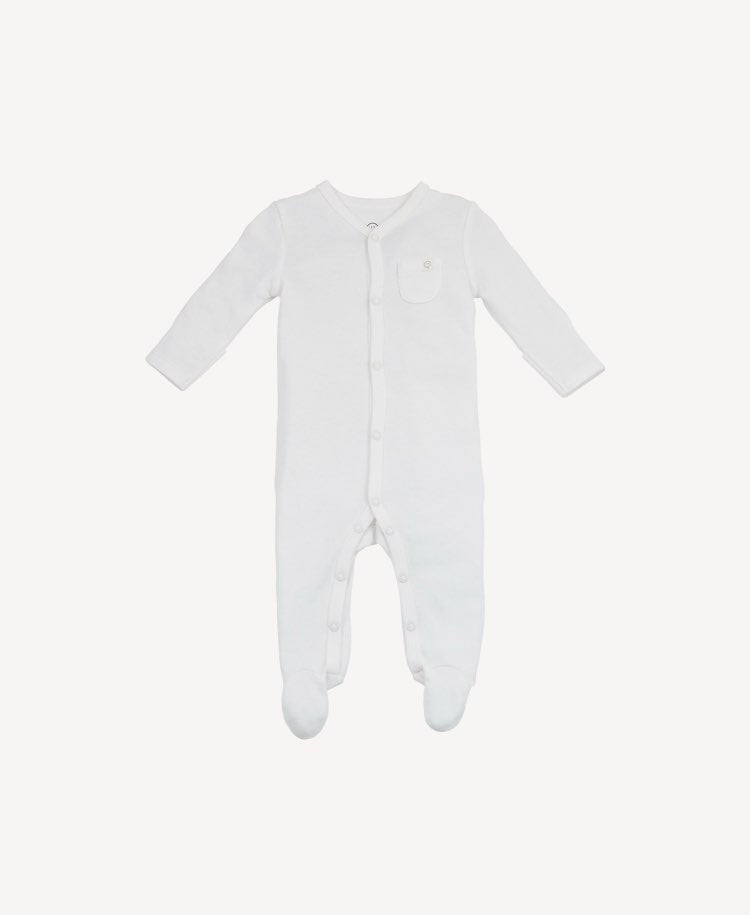 Baby Mori sleepsuit white stripe flat lay view