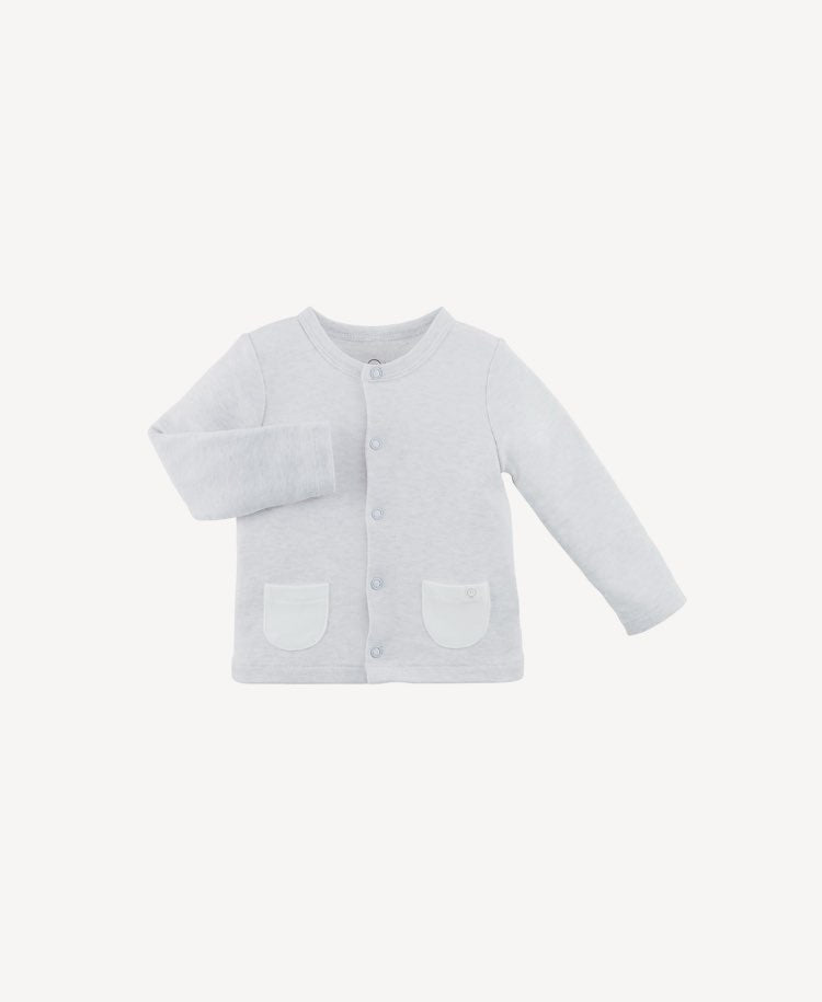 Baby Mori grey cardigan flay lay view