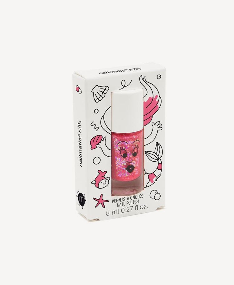 Nailmatic kids glitter polish pink in box side angle view