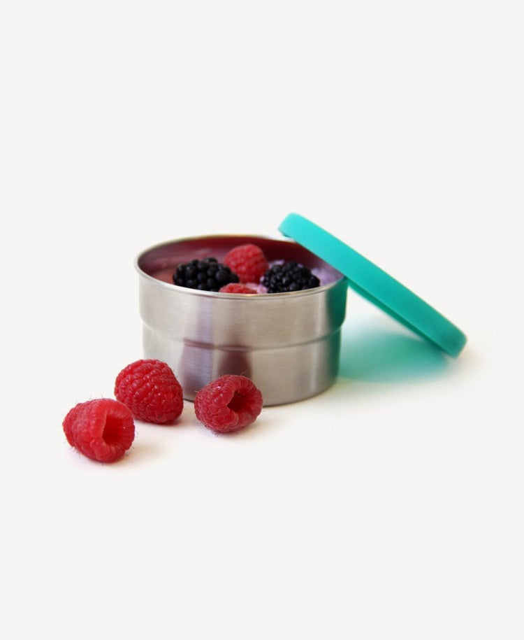 ECOlunchbox seal cup trio one cup with lid off and raspberries inside