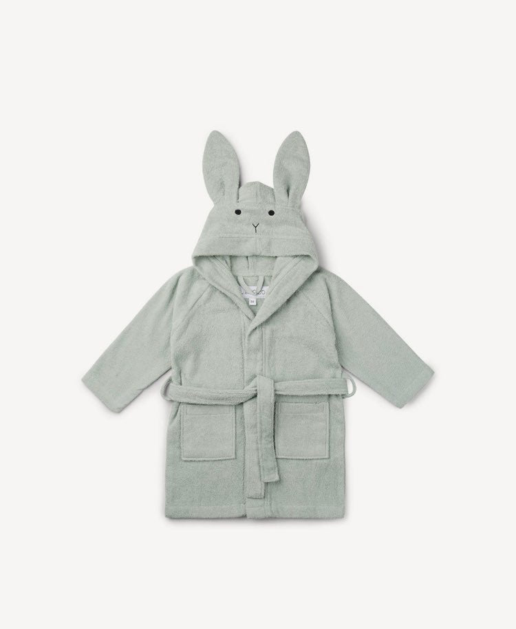 Liewood organic cotton Rabbit mint bathrobe flatlay view