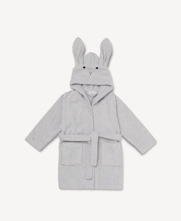 Liewood organic cotton grey Rabbit bathrobe flatlay view