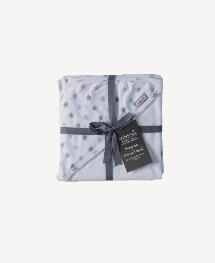 LittleHeart grey Little Star hooded towel folded with ribbon