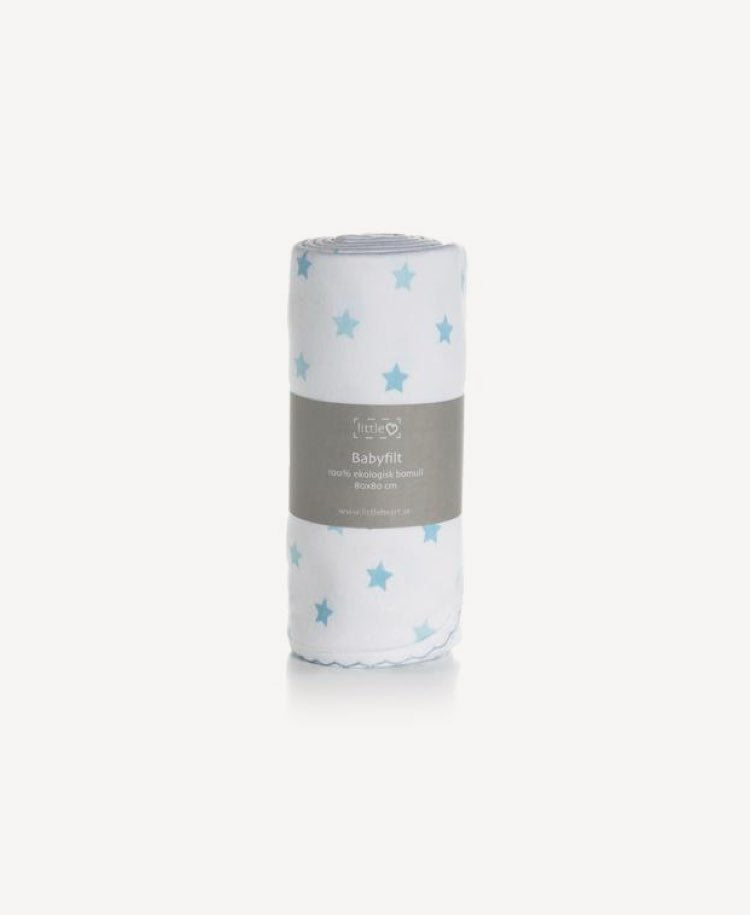 LittleHeart star blanket blue rolled up in packaging standing up front view