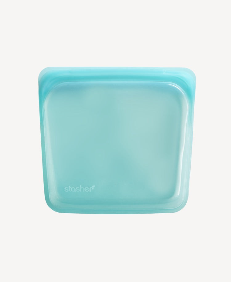 Stasher silicone sandwich bag aqua flatlay view