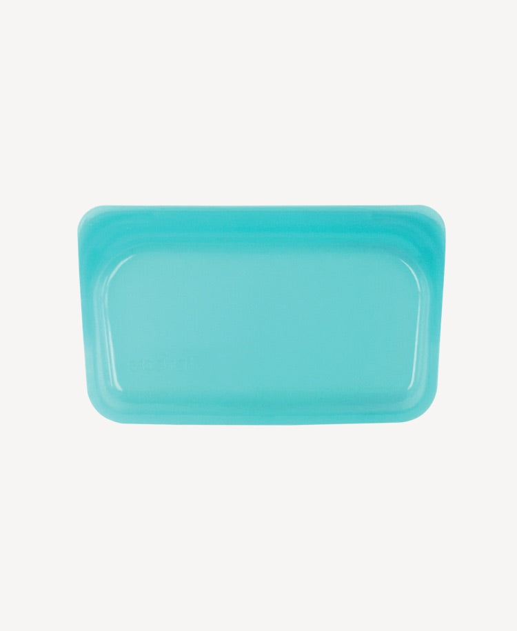 Stasher silicone snack bag aqua flatlay view