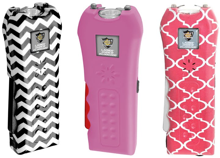 Ladies Choice Stun Gun 21 Million Volts, In Chevron, Pink and Coral Quatrefoil Design