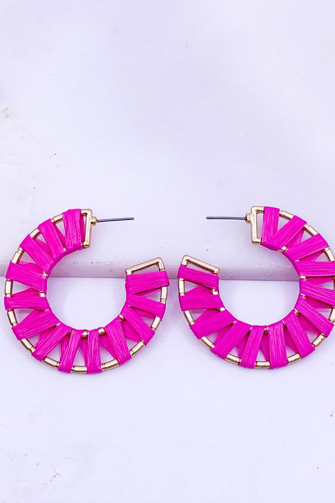 'Bianca' Raffia Wrapped Hoop Earrings