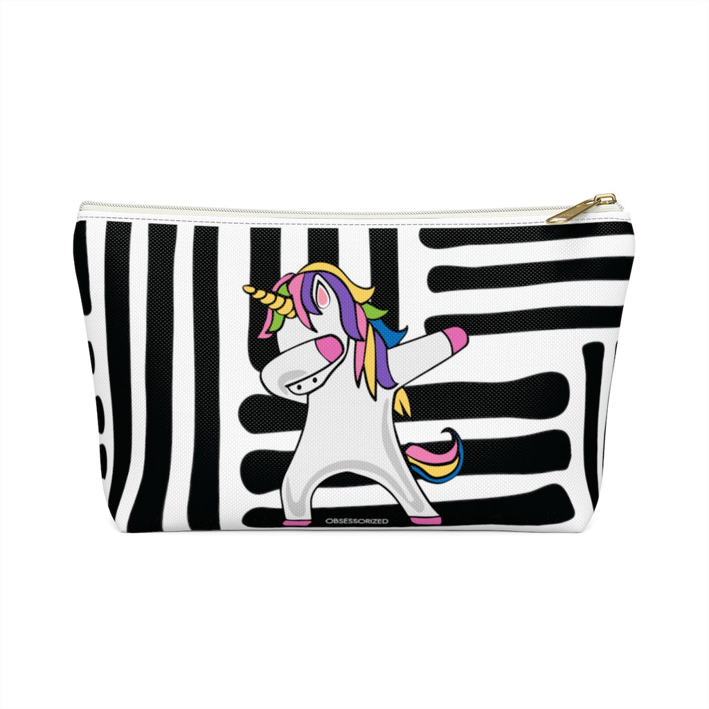 """Unicorn Dab"" Makeup Bag w T-bottom"