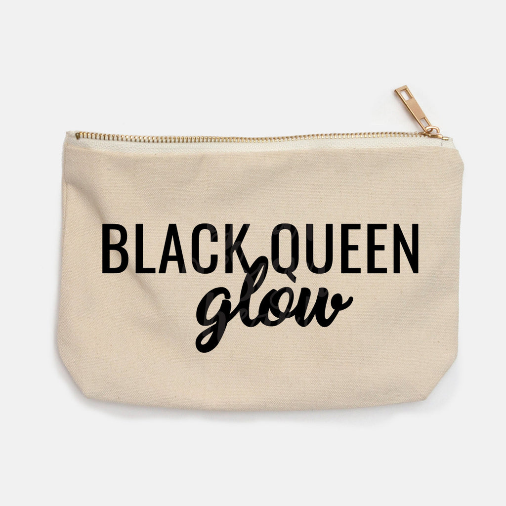 """Black Queen Glow"" Canvas Makeup Bag"