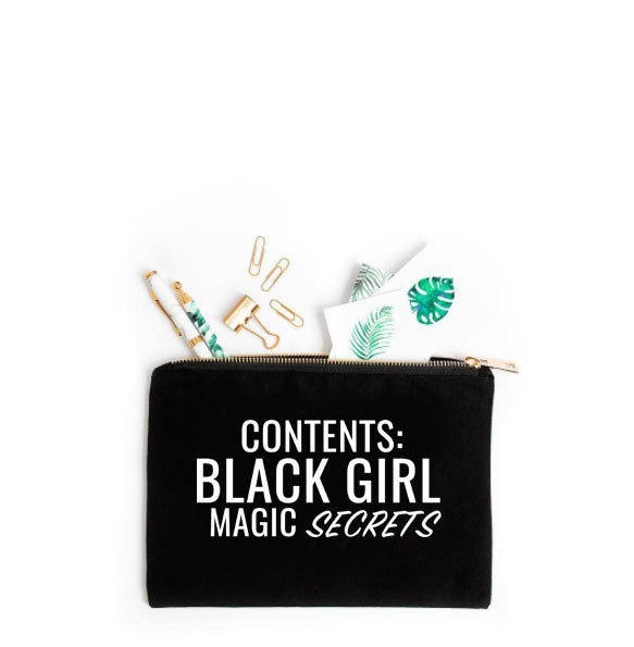 """Black Girl Magic Secrets"" Canvas Makeup Bag"