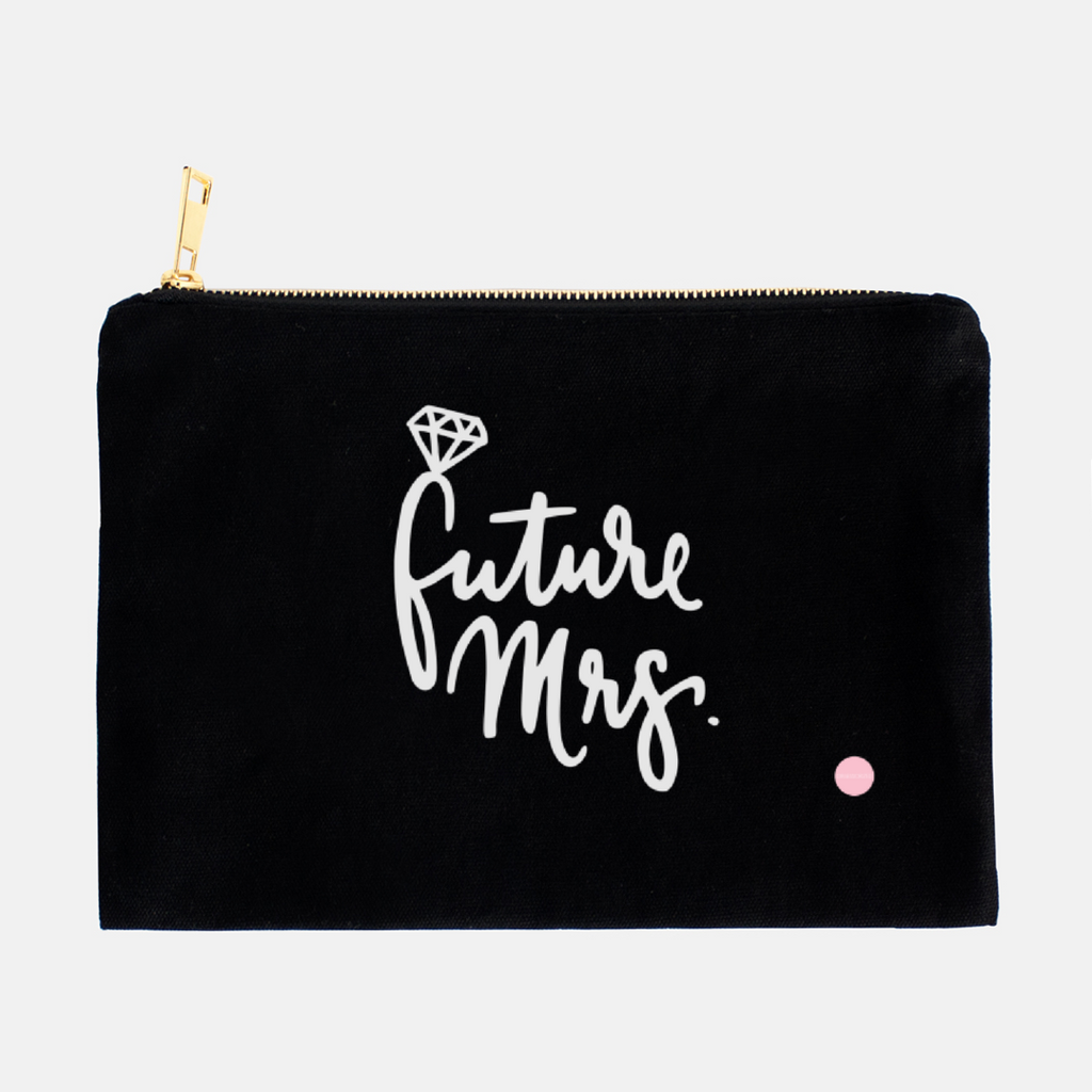"""Future Mrs"" Canvas Makeup Bag"