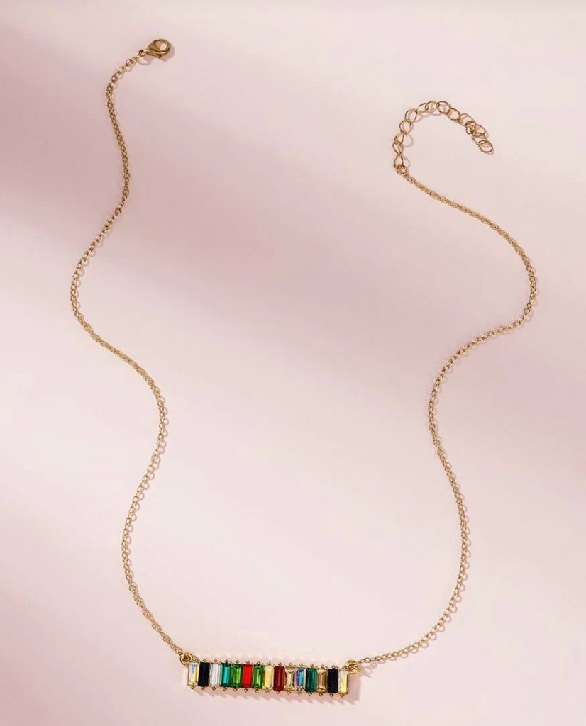 'Gia' Gemstone Bar Pendant Chain Necklace