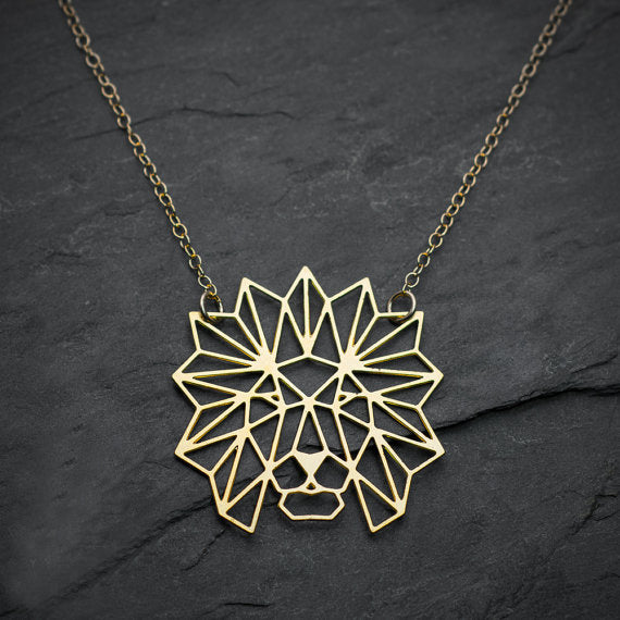 Gold Origami Lion Necklace