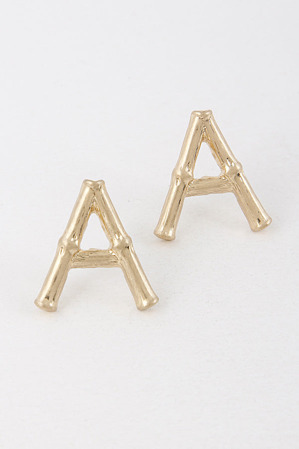 Bamboo Initial Letter Stud Earrings