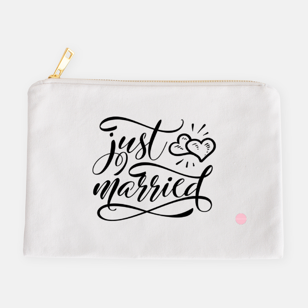 """Just Married"" Canvas Makeup Bag"