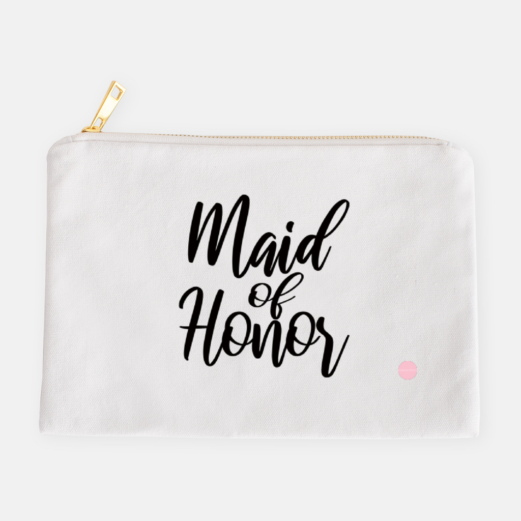 """Maid Of Honor"" Canvas Makeup Bag"