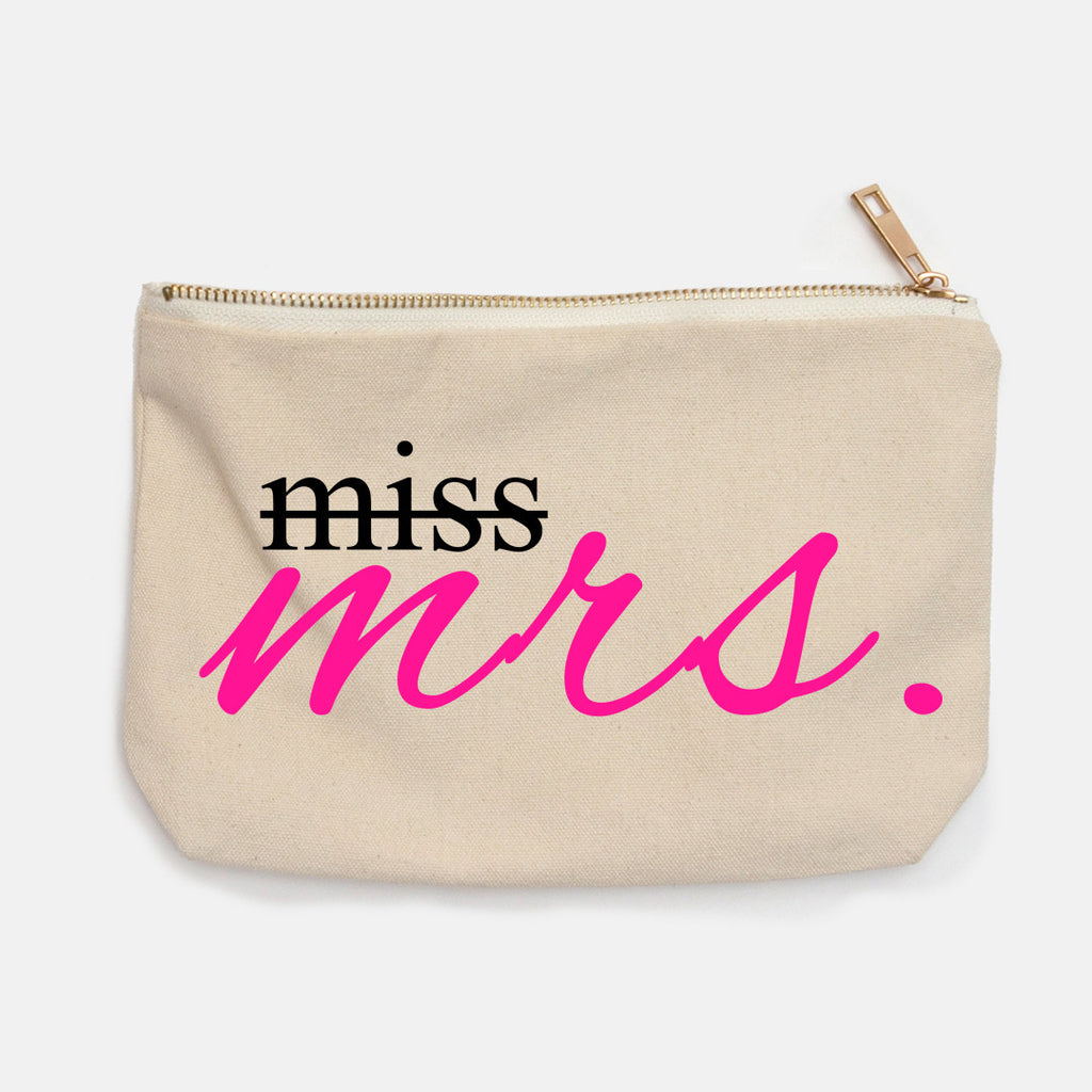 """From Miss to Mrs"" Canvas Makeup Bag"