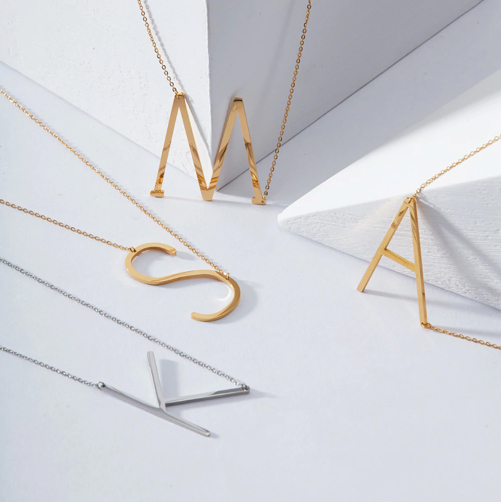 Stainless Steel Initial Necklace in Gold