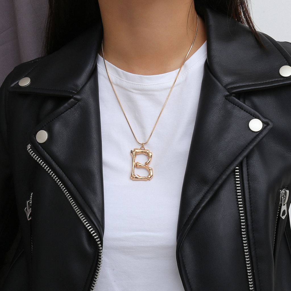 Bamboo Initial Necklace (Gold)